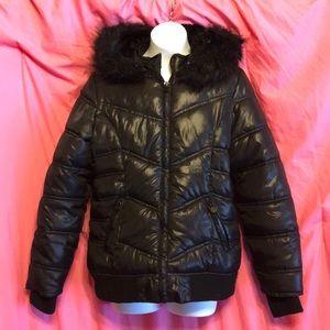 Justice black puffer coat size 12 / 14